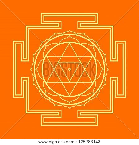 Monocrome Outline Baglamukhi Yantra Illustration.