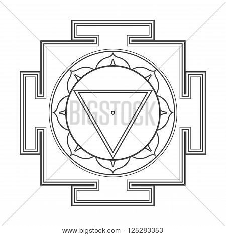 Monocrome Outline Tara Yantra Illustration.
