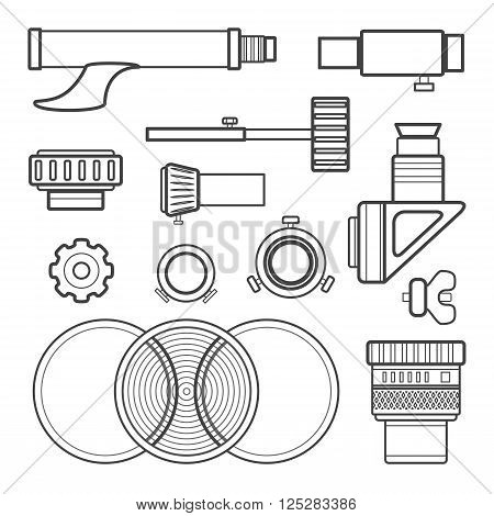 Vector Outline Telescope Accessories Collection.