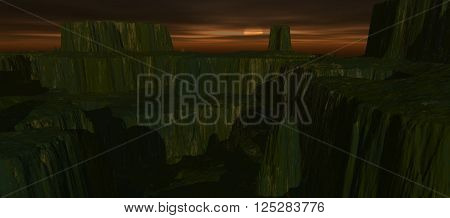 view from height of plateau is covered with grass at hight. Transparent river. Ground covered of grass. Sunset or sunrise. 3D rendering, 3D illustration