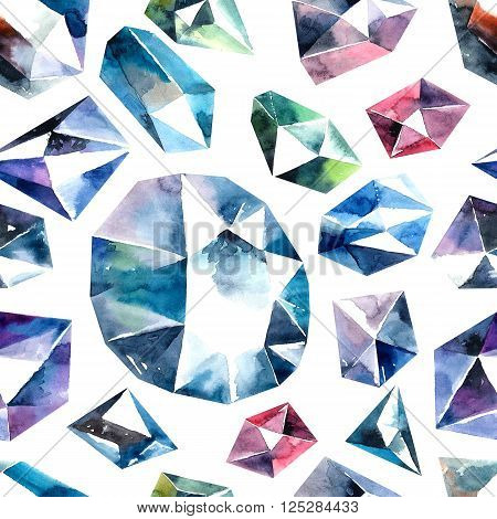 Abstract watercolor illustrations of diamond crystals. Bitmap  seamless pattern