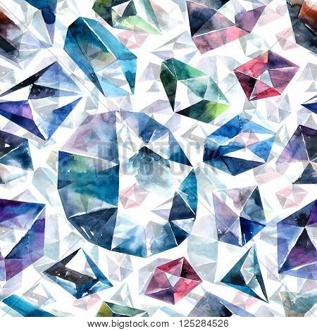 Abstract watercolor illustration of diamond crystals. Bitmap  seamless pattern