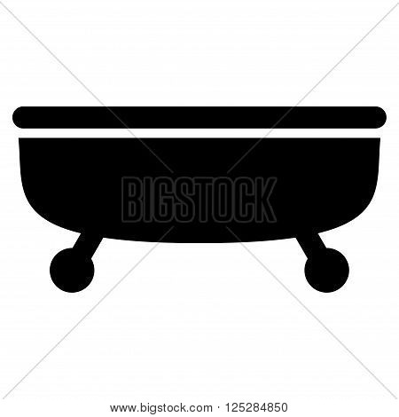 Bathtub vector icon. Bathtub icon symbol. Bathtub icon image. Bathtub icon picture. Bathtub pictogram. Flat black Bathtub icon. Isolated Bathtub icon graphic. Bathtub icon illustration.