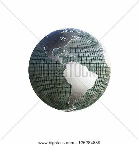 3d illustration of the planet earth with extruded continents isolated on white background