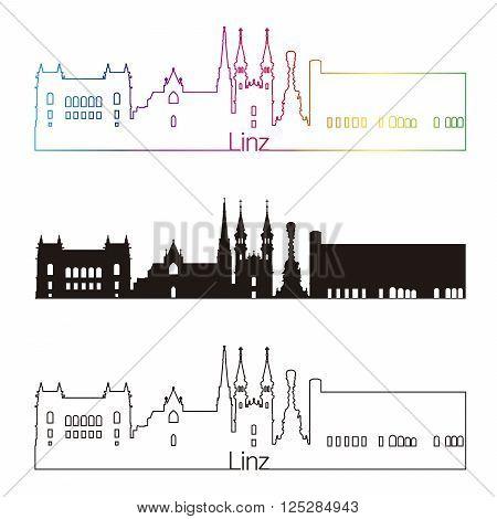 Linz skyline linear style with rainbow in editable vector file
