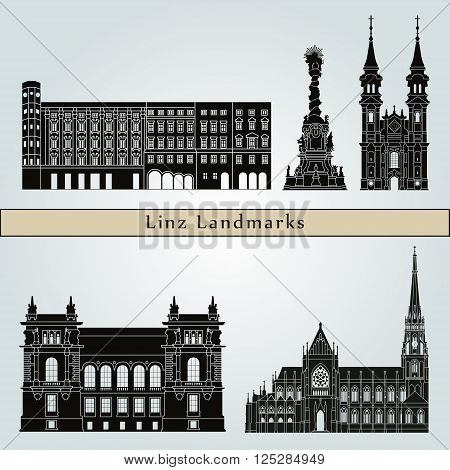 Linz landmarks and monuments isolated on blue background in editable vector file