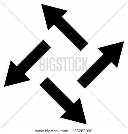 Centrifugal Arrows vector icon. Centrifugal Arrows icon symbol. Centrifugal Arrows icon image. Centrifugal Arrows icon picture. Centrifugal Arrows pictogram. Flat black centrifugal arrows icon.