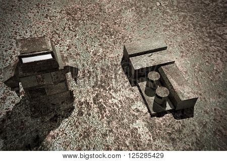 3d illustration of a rusty robot on a rusty surface