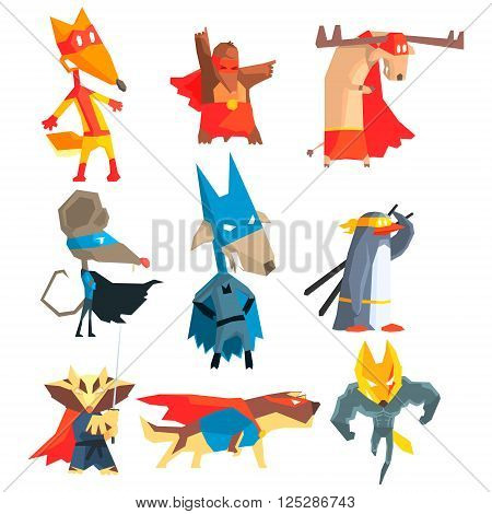 Super Hero Animals Flat Geometrical Design Vector Icon Collection On White Background