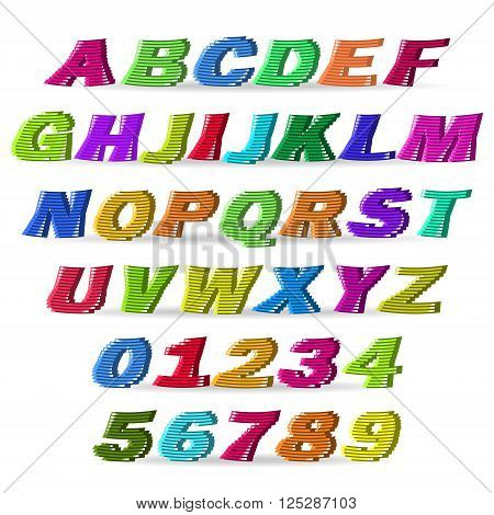 Fun colorful lines vector font. Use for design.