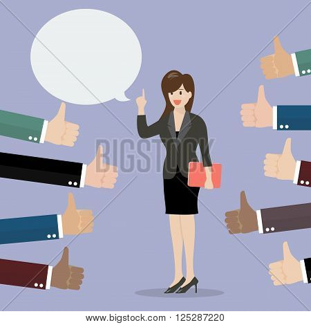 Good speech from business woman. Vector illustration