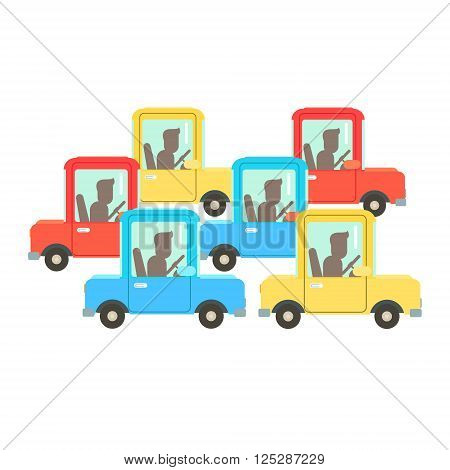 Traffic Code A Jam Flat Isolated Vector Image In Simplified Cute Childish Style On White Background