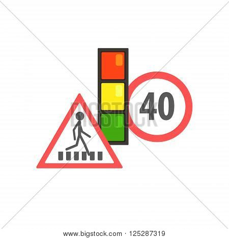 Traffic Code Limiting Signs Flat Isolated Vector Image In Simplified Cute Childish Style On White Background