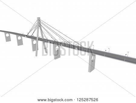 3D bridge and train, City buildings view vector illustration, buildings, , bridges on white  background. 3D arcitecture 1