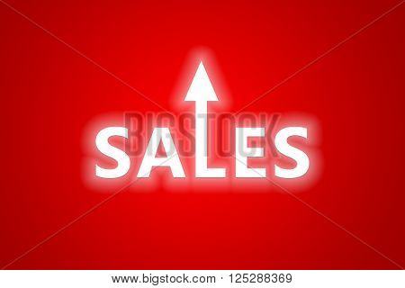 Sales text with arrow protruding from middles letter