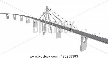 3D bridge and train, City buildings view vector illustration, buildings, , bridges  on white  background. 3D arcitecture 7