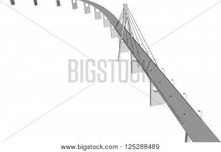3D bridge and train, City buildings view vector illustration, buildings, , bridges on white  background. 3D arcitecture 8