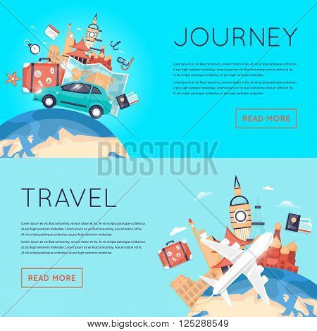 World Travel. Planning summer vacations. Tourism and vacation theme. Trip plan, tourism and journey. Summer travel. Flat design vector illustration.