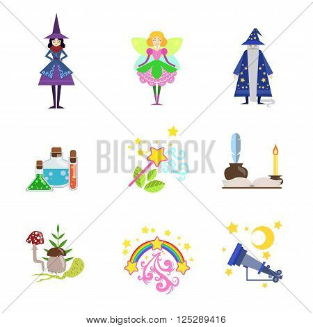 Fairytale Characters And Related To Them Objects Set Of Flat Vector Icons In Cute Girly Style Isolated On White Bckground