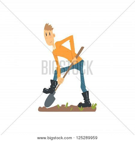 Skinny Farmer Digging The Ground Flat Isolated Vector Image In Simple Childish Style On White Background