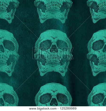 Terrible frightening seamless pattern with skull on a antique grunge background