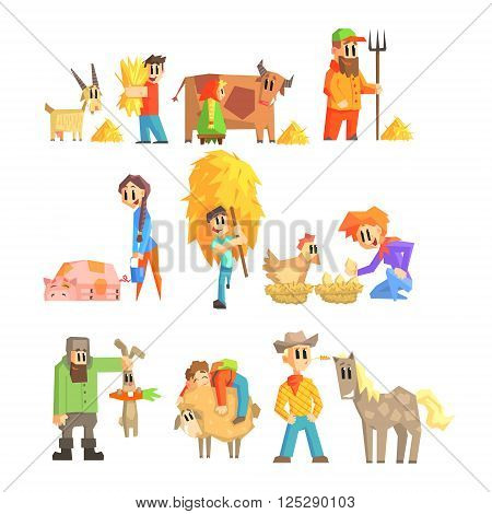 Collection Of Animal Farm Primitive Flat Vector Design Isolated Illustrations