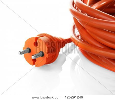 Orange rolled extension isolated on white