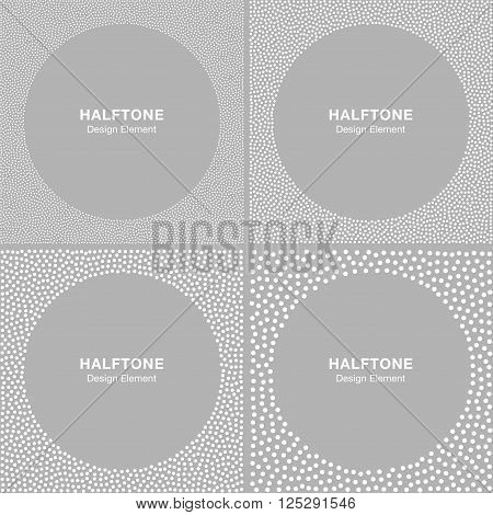 Set of Abstract Halftone White Dots Frames on Gray Silver Background. Circle Jewelry Backgrounds.