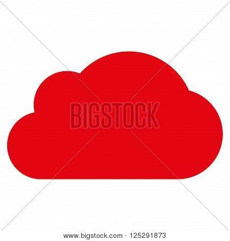 Cloud vector icon. Cloud icon symbol. Cloud icon image. Cloud icon picture. Cloud pictogram. Flat intensive red cloud icon. Isolated cloud icon graphic. Cloud icon illustration.