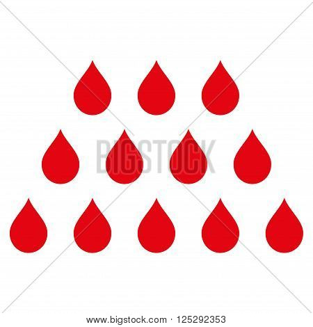 Drops vector icon. Drops icon symbol. Drops icon image. Drops icon picture. Drops pictogram. Flat intensive red drops icon. Isolated drops icon graphic. Drops icon illustration.