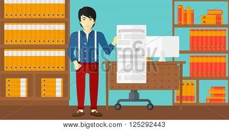 Man presenting report.