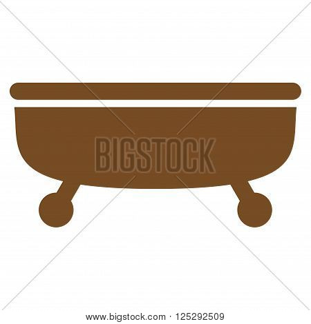 Bathtub vector icon. Bathtub icon symbol. Bathtub icon image. Bathtub icon picture. Bathtub pictogram. Flat brown Bathtub icon. Isolated Bathtub icon graphic. Bathtub icon illustration.