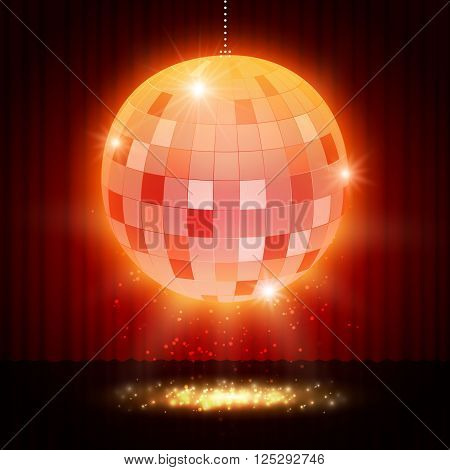 Mirror Disco Ball On Stage Curtain