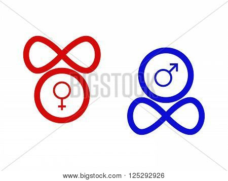 Two antithetical symbols of she and he