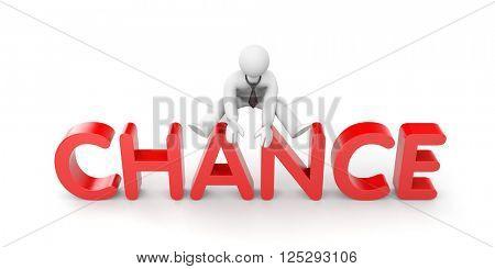 3d man uses his chance. 3d illustration