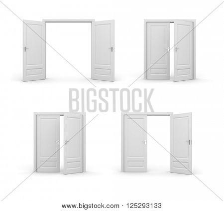 Opened doors. 3d illustrations set