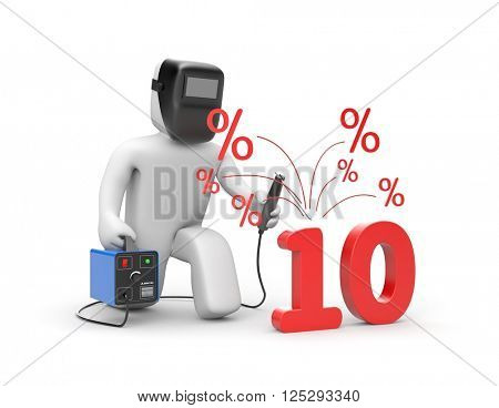 Welder and 10 percent discount. 3d illustration