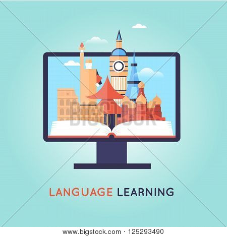 On-line Training Courses. Foreign language education online, internet lessons, language school. English. Flat design vector