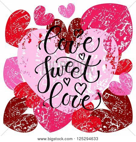 Love Sweet Love Lettering Typography Poster