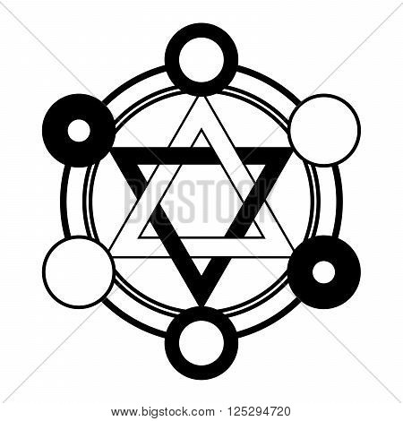 Fable six pointed star symbol in black and white colors