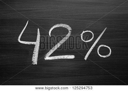 42 percent header written with a chalk on the blackboard