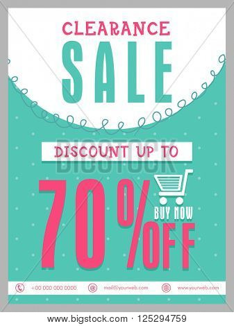 Clearance Sale Flyer, Sale Banner, Sale Poster, 70% Discount Offer.Vector illustration.