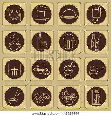 Golden Brown Restaurant Signs Set