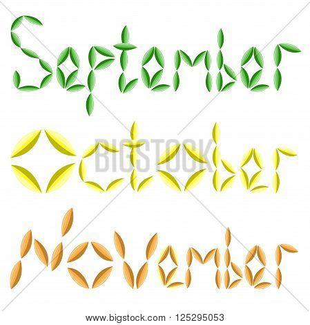 Three inscriptions of autumn months September, October, November