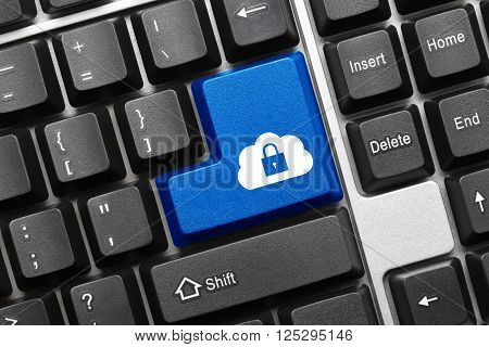 Conceptual Keyboard - Blue Key With Cloud And Lock Symbol