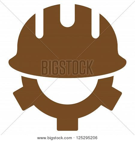 Development Helmet vector icon. Development Helmet icon symbol. Development Helmet icon image. Development Helmet icon picture. Development Helmet pictogram. Flat brown development helmet icon.