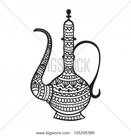 Beautiful traditional Jug made by creative ethnic floral pattern for Islamic Festival celebration.