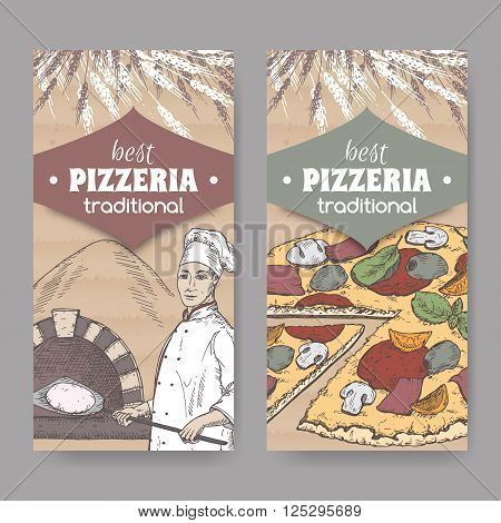 Set of 2 color pizzeria label templates with baker, oven and pizza on cardboard texture. Great for pizzeria, bakery and restaurant, cafe ads, brochures, labels.