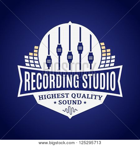 Recording studio logo template. Music icon for audio recording branding and identity