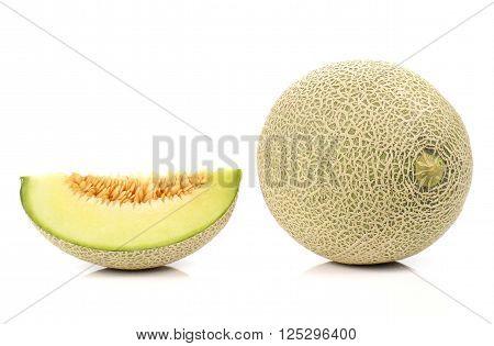 Melon , Melon slice isolated on white background.